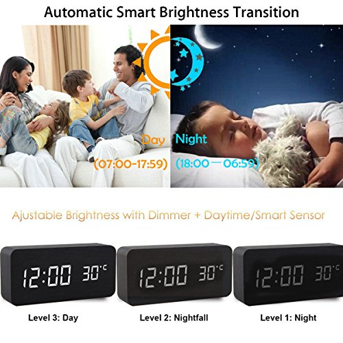Alarm Clock,Wood Digital Alarm Clock, Wooden Wake Up Bedside Travel Alarm Clock with Time Temperature Humidity Sound Control Led Alarm Clock for Home Bedroom Office-triangle by Girlsight (Image #5)