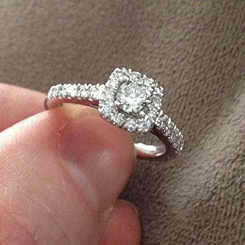 1ct Cushion Halo Diamond Engagement Ring 14K White Gold - Size 4 by P3 POMPEII3 (Image #4)