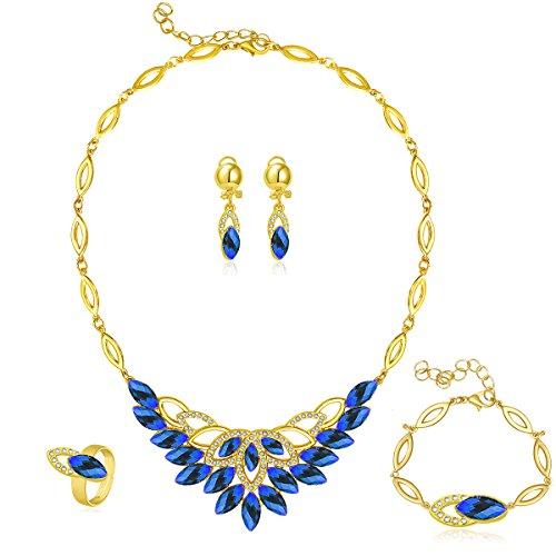 Moochi 18K Gold Plated Oval Beads Scrafe Pattern Jewelry Set Blue - Costume Jewelry Art