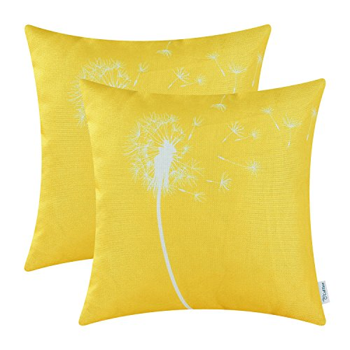 Pack of 2 CaliTime Cushion Covers Throw Pillow Cases Shells Both Sides Print, Dandelion, 18 X 18 Inches, Yellow