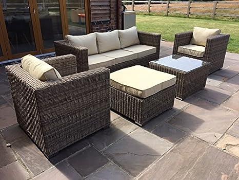 Ratán sofá de tres plazas Set 5pcs, muebles de jardín ...
