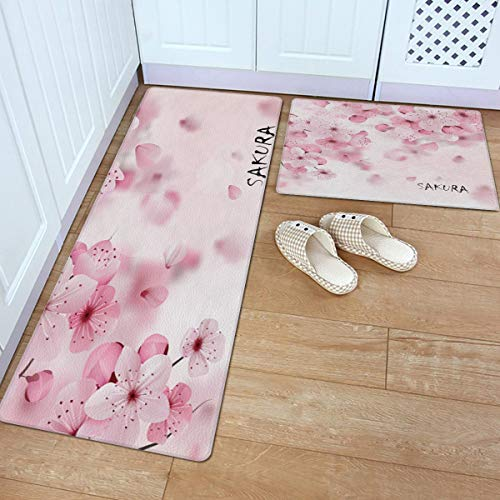 Fantasy Star 2 Piece Leather Kitchen Rug- Cherry Blossom Pattern Wallpaper Durable Area Rugs Cushioned Anti Fatigue Floor Mat Soft Waterproof Indoor Carpet, 18