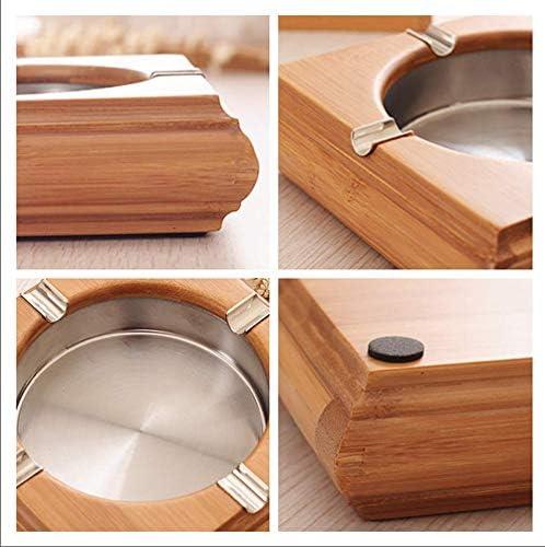 LZP-PP Cenicero de bambú de la Personalidad Creativa Cenicero Hogar Moderno de Acero Inoxidable de China Cenicero Decorativo Retro Inicio 14.9X14.9X4cm