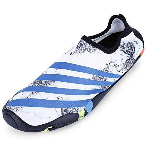KCatsy Outdoor Round Toe Quick-Dry Non-Slip Breathable Flat Heel Beach Men Water Shoes White -