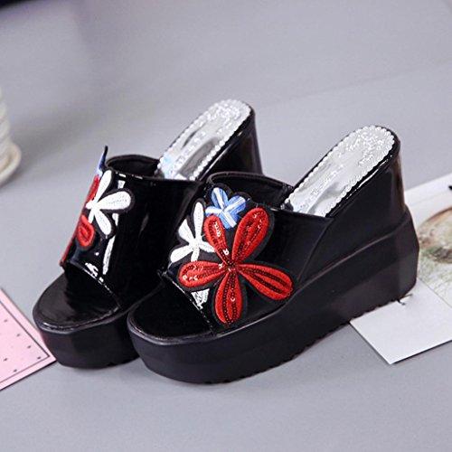 talons bouche poisson de fond inclinées brodées chaussures à hauts erthome pantoufles compensées femmes épais plateforme noir SOq8PP