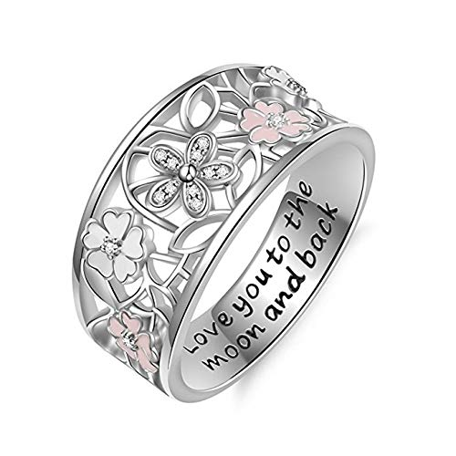 HUAYI Exquisite Women's 925 Sterling Silver Floral Rings Pink Sapphire Flower Diamond Lucky Cherry Blossom 4 Leaves Clover Poetic Eternity Ring (Silver,6)