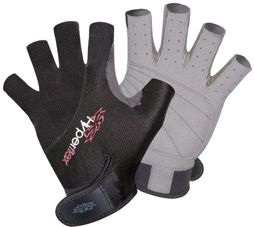 Hyperflex Men and Womens 3/4 Finger Gloves - Helps Protect hand - Kayak Gloves for Kiteboarding, Canoeing, Sailing, Jetskiing and Stand-Up Paddle-Boarding- Adjustable Wrist Cinch