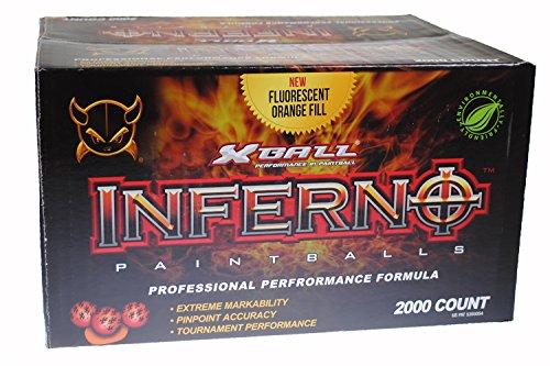 - GI Sportz XBALL Inferno Paintballs - Ruby/Magma Shell - Bright Orange Fill (2000 Count)
