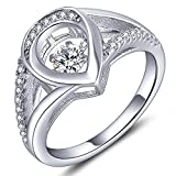 YL Sterling Silver Dancing Diamond Cubic Zirconia Teardrop Engagement Ring for Wedding-Size5