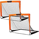 EliteGo Portable Soccer Goal | Instant Pop Up Net | Fiberglass Poles, Sets of 2 (Orange)