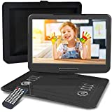 "WONNIE 16.9"" Portable DVD/CD Player with 14.1"" Large Swivel Screen, Car Mount Holder, 1280 x 800 HD LCD TFT, Built-in 4000mAH Rechargeable Battery, Resume Play, USB/SD Card/ AV in &Out"