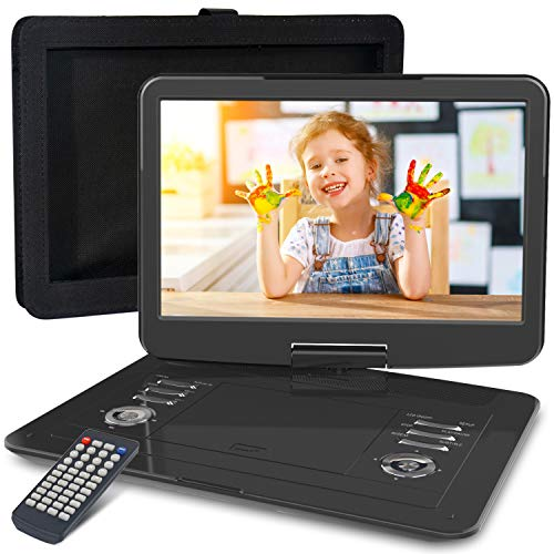 WONNIE 16.9″ Portable DVD/CD Player with 14.1″ Large Swivel Screen, Car Headrest Case, 6 Hrs 4000mAH Rechargeable Battery, Regions Free, Support USB/SD Card/ Sync TV, High Volume Speaker