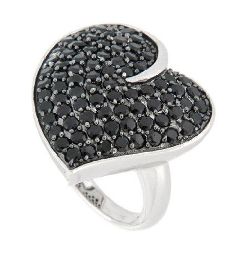 Pearlz Ocean Black Spinel Fancy Heart Ring 7 Jewelry for Women (Heart Spinel)