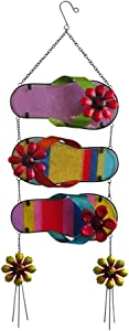 "Comfy Hour 28"" Three Flip Flops With Flowers Metal Art Hanging Slippers Décor, For Home and Garden, Height 28"" Including Chain"