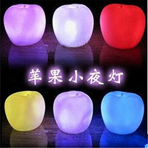 10PCS Set 7 Color Changing Decoration Romantic Apple Christmas LED Night Light Lamp Battery Party Decor (Seasonal Decorations Catalog)