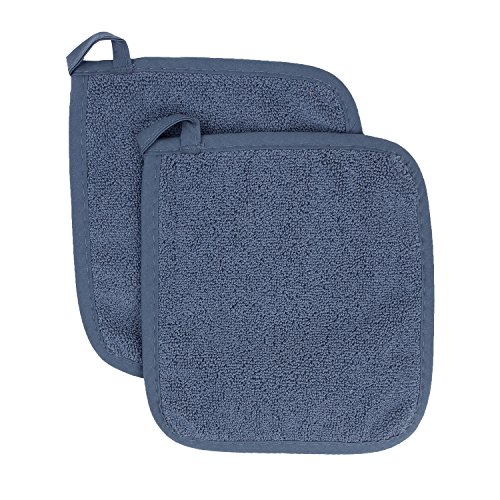 Ritz Royale Collection 100% Cotton Terry Cloth Pot Holder Set, Kitchen Hot Pad, 2-Pack, Federal Blue ()