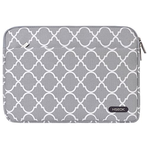 Laptop Sleeve, HSEOK Quatrefoil / Moroccan Trellis Style Canvas Fabric Case Bag for 12.9 iPad Pro / 13.3 Inch Notebook Computer / MacBook Air / MacBook Pro, Gray