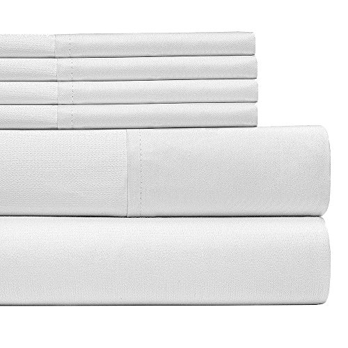 6 Piece:Egyptian Home Collection 1800 Series Luxury Deep Pocket Bed Sheet Full Size/White