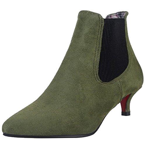 Elastique Coolcept Bottes Femmes Chelsea Green 2384 Pointu Talon Petit Elegant Bout Army 8q6r8w