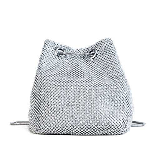 Womens Bag Wedding Prom Evening Bridal Handbag Purse Bag Crystal Clutch Party Silver 6f6nqrv
