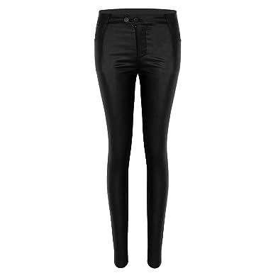 TiaoBug Femme Legging PU Cuir Pantalon Taille Haute Pantalon Soirée Pole Danse  Bas Élastique Collant Slim 6e95594a662e