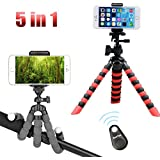 5 in 1 Flexible Phone Mini Tripods, Camera Adjustable Stand Holder with Universal Mount by Bootaa, Tabletop& Travel Tripod for iPhone, Regular Android Phone, Camera