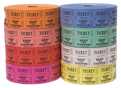 Raffle Tickets - (4 Rolls of 2000 Double Tickets) 8,000 Total 50/50 Raffle Tickets (4 Assorted Colors)