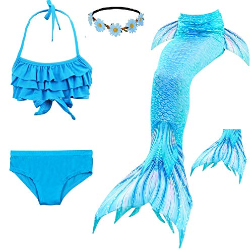 Fishkidtail Princess Mermaid Tails for Swimmimg Included Monofin Bikini Bathing Suit Set for 3-12Y Blue Sea