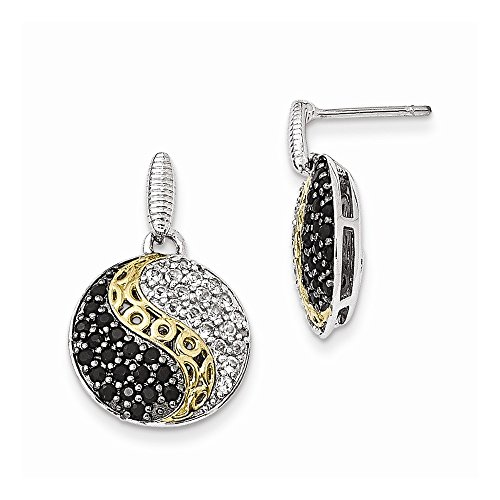 925 Sterling Silver and Gold-Tone Blk Rhodium White Topaz and Simulated Onyx Earrings (25mm x - Onyx Ring Blk