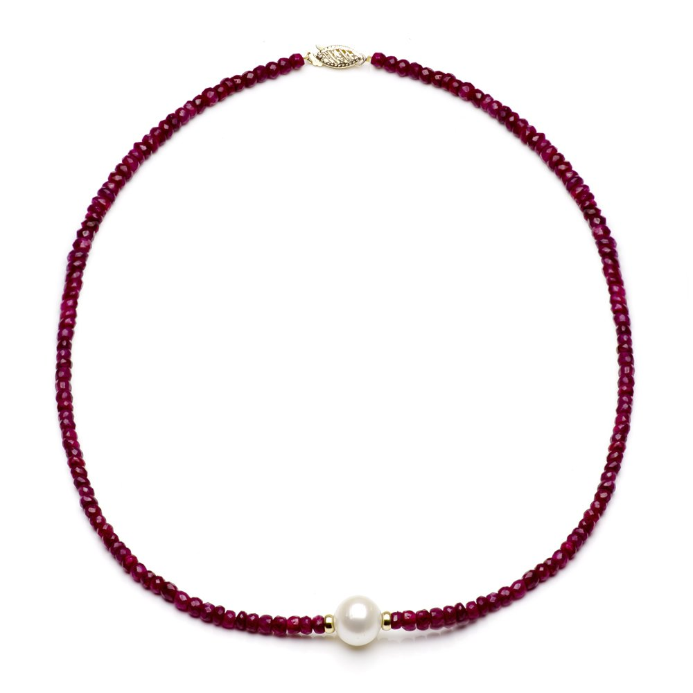 14k Yellow Gold 4mm Simulated Red Ruby and 9-9.5mm White Freshwater Cultured Pearl Necklace, 18''