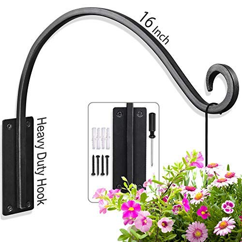Plant Hooks of Heavy Duty from Hand Forged (16inch/Black) Outdoor Durable and Stable for Hanging Plant Bracket (Pot Hangers Garden)