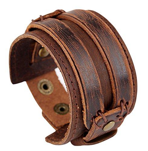Hamoery Men Leather Bracelet Punk Braided Rope Alloy Bracelet Bangle Wristband(Brown3)