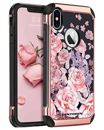 iPhone XS Case (2018), iPhone X Case, BENTOBEN Shockproof 2 in 1 Flower Peony Pattern Cover, Anti Scratch Protective Floral Girls Women Case for Apple iPhone XS, iPhone X/10, Rose Gold/Black
