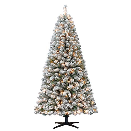 Lit Crystal Artificial Christmas Tree - Holiday Time 6.5ft Flocked Pre-Lit Crystal Pine Artificial Christmas Tree with 250 Clear Lights - Green