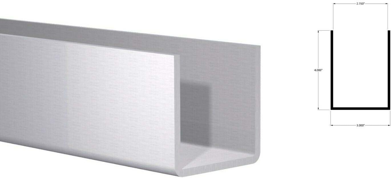 """3/"""" W x 2/"""" H x 1//8/"""" Wall Fits  2-3//4/"""" Mill Finish 4 Foot Aluminum Channel:"""