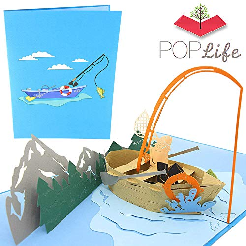 PopLife Fishing Boat Pop Up Card for Dad or Hubby! - 3D Happy Anniversary Pop Up Father's Day Card, Birthday, Retirement Card - Folds Flat for Mailing - for Dad, for Husband, for Son, for Boss (Cast Hallmark The Card Christmas)