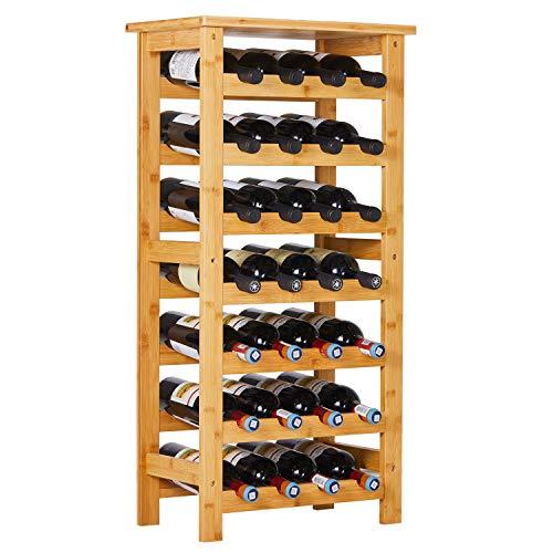 Viagdo 28 Bottles Bamboo Wine Rack with Wood Table Top 7-Tiers Free Standing Floor Wine Bottles Storage Shelves Holder Rack Display Shelf for Home Mini Bar, Living Room, Kitchen or Dining
