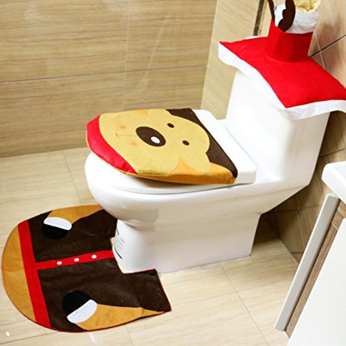 Christmas Decorations Toilet Seat Cover and Rug Set, Owill 3PCS Merry Christmas Decoration Santa Elk Toilet Seat Cover & Rug Bathroom Set (Red) best