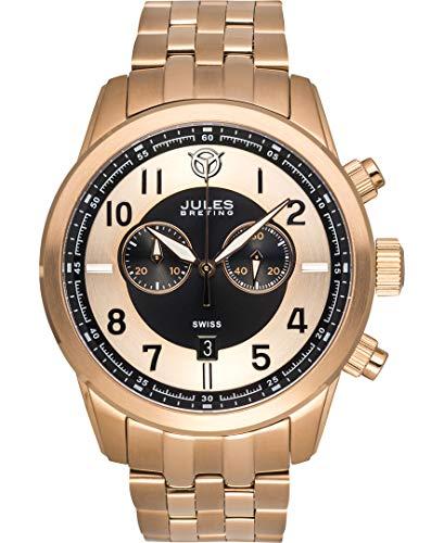 Jules Breting Geidi Prime Mens Swiss Chronograph Watch - Rose Gold Bracelet, Rose Gold Case, Black/Rose Gold Dial