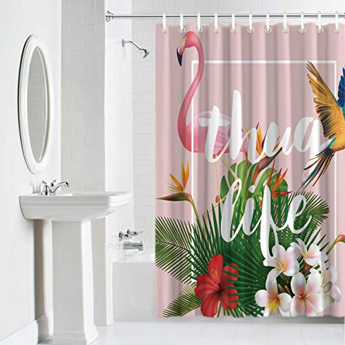 Shower Curtain Waterproof Home Decor,Fabric Decorative Bathroom Accessories with Hooks,Pink Flamingo and Parrot Thug Life Tropical Palm Leaves and Flowers Green Illustration Art 60 x 72 Inches