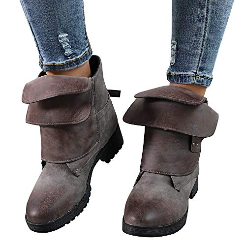Clearance Sale! Women Ankle Booties Cinsanong Brush-Off Leather Cowboy Shoes Ladies Knight Martin Boots