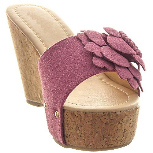 Sopily - Chaussure Mode Sandale Plateforme Cheville femmes fleurs clouté Talon compensé plateforme 10 CM - Rose
