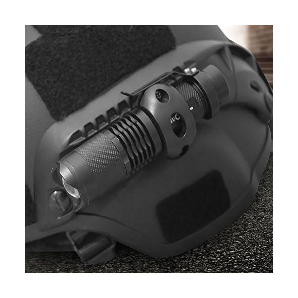 Alomejor Linterna para Casco, Q5 Zoom Linterna y Casco Linterna Juego de Clips con batería cargable para Seguridad y Aire Libre 12