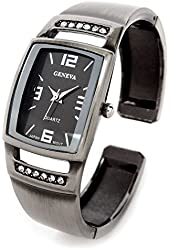Geneva Gun Black Metal Crystal Band Square Face Fancy Women's Bangle Cuff Watch