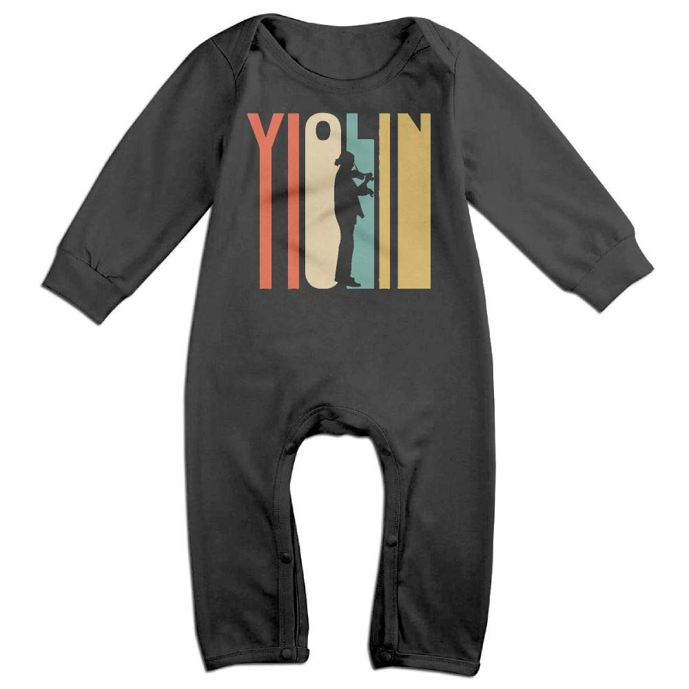 Retro 1970s Style Violin Player Silhouette Music Long Sleeve Infant Baby Romper Jumpsuit Onsies for 6-24 Months Bodysuit