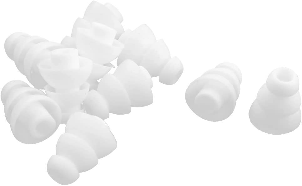 uxcell 10 Pcs White Silicone 4mm Dia Triple Flange Earbud in-Ear Earplug