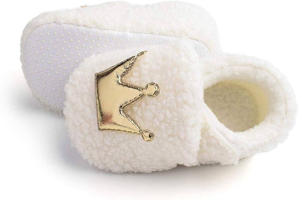 XXYsm Chaussure B/éb/é Hiver 0-12 Mois Hiver Anti-D/érapant Chaud Couronne Poilue B/éb/é Chaussures de Coton Chaussures pour Tout-Petits Chaussures B/éb/é Bottes en Coton