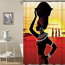Tribal Girl African Women Art Shower Curtains Bathroom Curtain Mildew Resistant Waterroof Anti-Bacterial Polyester Fabric Bathroom Shower Curtain - Eco-Friendly No Odor with Free Hooks HYC08-B-US #10