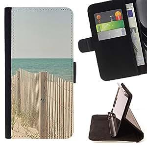 """For Sony Xperia Z5 (5.2 Inch) / Xperia Z5 Dual (Not for Z5 Premium 5.5 Inch),S-type Beach Ocean Blue Sand Costa"""" - Dibujo PU billetera de cuero Funda Case Caso de la piel de la bolsa protectora"""
