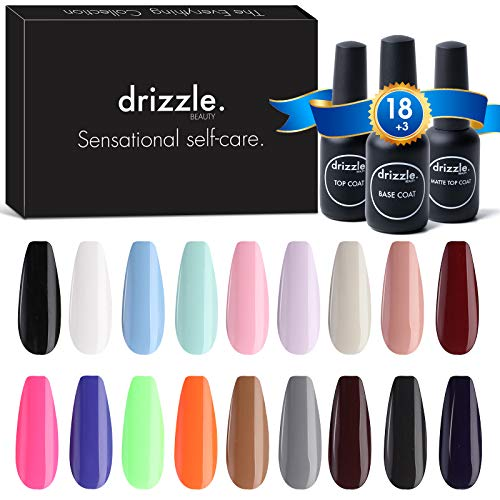 Drizzle 21 Pcs Gel Nail Polish Kit, 15ml DIY Soak Off Pastel Red Nude Gel Polish Set Brown Black Glitter Gel Nail Kit Nail Art with Glossy & Matte Top Coat and Base Coat Christmas Gifts Set
